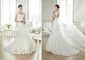 Recém-chegados branco elegante open volta modesto casamento vestido de renda vestido de noiva simples