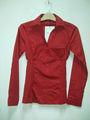 europea para hombre de larga camisa de algodón tejido de color rojo camisa formal