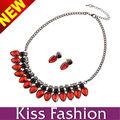 granos de acrílico rojo de la nueva manera de la joyería nupcial como hacer collares baberos con cadenas