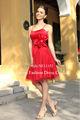 la rodilla a corto tul recién charmeuse rojas cintura flor bellos vestidos de noche