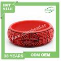 Pulsera al por mayor de China, el rojo cinabrio brazalete, pulsera de las mujeres, diseño tallado a mano de la flor de Rose