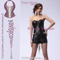 sexy sem alças mulheres traje sexy espartilho de couro preto quente