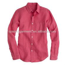 los hombres de lavado de fresa pura camisa de lino