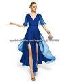 2013 V-cuello la altura del tobillo gasa por encargo azul oscuro media manga vestido de fiesta CWFXp08