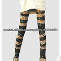 Rock N' moda metálico Celebrity estilo brillante transparente largo mujeres PU imitación cuero leopardo polainas