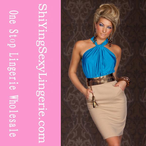 por mayor de moda azul vertiginosa halterneck acanalada de cóctel de moda vestido de quinceañera vestidos vestidos de fiesta
