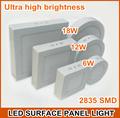 Plafón de Techo de LEDs Cuadrado de Superficie 6w/12w/18w 500~1500LM SMD2835 AC85-265V con el ce/rohs