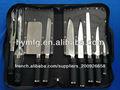 Poignée en caoutchouc couteau set, 9 pcs couteau de cuisine ensemble avec le sac