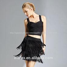 caliente la venta de último diseño de la fábrica precio elegante borlas damas falda corta los modelos