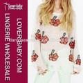 simple color blanco rojo patrón de la flor playa mujer suéters