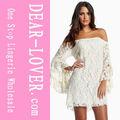 2013 novo estilo renda creme fora- a- ombro mini vestido