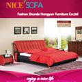 moderno de lujo de cuero genuino rojo de la cama para jóvenes duplica h8019b