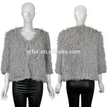 Véritable manteau en peau de porc yr-814 tricoté,/manteau de fourrure véritable/2015 mode