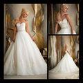 Blanco europa una línea de novia de cuentas cinturón capas de organza vestido de novia falda grande 2013 TB102