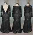 Jm. Bridals muestra real negro hy227 shealth v de vuelta de manga larga vestidos de encaje para la madre de la novia