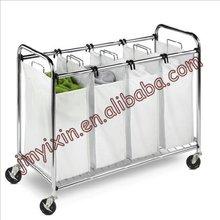 Con ruedas de lavandería clasificador/de cromo y el lienzo cuatro sección de lavandería clasificador