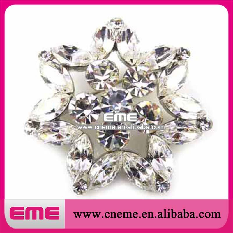cristal de prata da forma de flor com a festa de casamento do diamante decoração strass broche mini