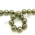 golden 10mm pirita facetas ronda cuentas de piedras preciosas perlas para la joyería