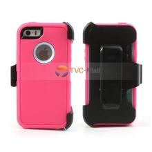 Defender para iPhone 5s 5 Combo Case w / correa de la pistolera del clip - purpúreo claro / Rosa