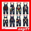 baby oxgift macacao 2014 design novo animal crianças jeans macacão infantil calças macacao