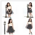 venta al por mayor nuevo 2014 chicas mangas flor de retazos de la cintura negro puntos de tul vestido de chaleco
