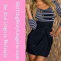 Las mujeres de moda larga clásico- de manga con rayas de marinero vestido mini 2014 venta al por mayor