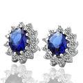 las mujeres de moda del océano azul aretes de cristal