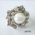 2014 novo design pérola prata anéis flor encanto jóias anéis