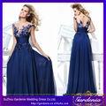 tarik ediz alta princesa de escote corpiño corto mangas festoneado bordados de perlas de color azul real vestido de noche