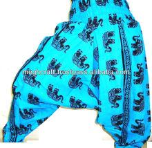 Harem Elefante Imprimir Pantalones de algodón-indian Yoga traje pantalón-jump indios harem de impresión de algodón pantalones pa