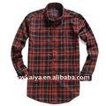 de moda de color rojo y negro a cuadros camisa para los hombres de color negro y rojo camisa de verificación