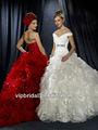 wr7201b magnífico vestido de casamento de organza e tafetá de babados na saia de pregas e sexy vestidos de noiva vermelho
