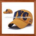 100% amarillo de algodón de moda gorra de béisbol con el bordado en buena calidad