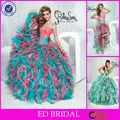 2014 Últimas color volante desmontable Vestido de Quinceanera Dos Falda