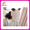 elegante invierno personalizados baratos al por mayor de punto beanie orejas de gato