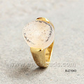 18K gold crystal agate ring