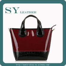 caliente venta de moda de diseño único de alta calidad de mujer de cuero genuino bolso de la patente