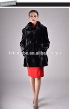 Las mujeres 2014 largo de visón abrigo de piel de falda con dobladillo inferior y gire hacia abajo cuello/negro de piel