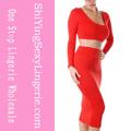 venta al por mayor hecho en china 2014 sexy de dos piezas vestido bodycon