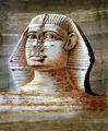 Pinturas egípcias papiro, estátua de esfinge