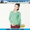 100% algodón raya cuello redondo mujeres de la manga larga t camisa ropa al por mayor de las importaciones de China
