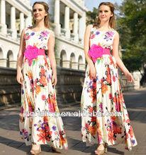 la expansión de bohemia falda de algodón de impresión digital de vestir