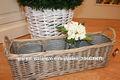 gran rectángulo de mimbre planta de cestas con la manija