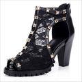 кожаный шнурок заклепки красивые высокие- каблуках