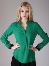 YIGELILA Soporte de manga larga cuello blusa de Gasa de temperamento 7115