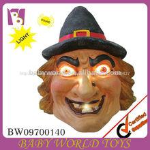 2014 llegaron nuevos decorativos de halloween bruja de plástico con luz de control de sonido, decoraciones de halloween