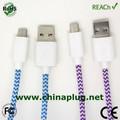 Accesorios para teléfonos móviles, cable micro usb trenzado de nylon de color