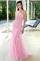 al111 novia hermosa apliques de volantes de color rosa transparente vestido de bola vestido de novi