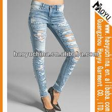 2013 de moda los pantalones vaqueros de mezclilla pesado rasgado las mujeres jeans skinny jeans( hyw92)