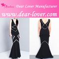 Nueva llegada de moda 2014 v- cuello alto y bajo de impresión vestido de noche largo